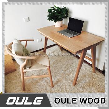 Custom Made Long Study Oak Wood Computer Table Desk