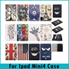 Painting Folding Stand Credit Card Flip PU Leather Tablet Case For Ipad Mini 4 7.9 Inch