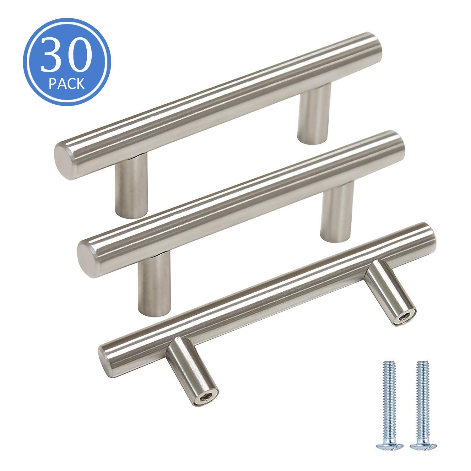 Knobonly 30 Pack 3 inch Hole Spacing 5 inch Total Length Kitchen Cupboard Dresser Drawer Handles and Pulls Stainless Steel Brushed Nickel Finish