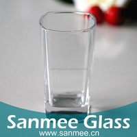 Machine Pressed Square Shaped Juice Glass Tumbler with Hot Drink