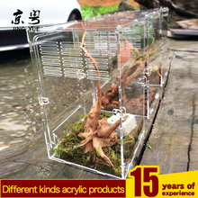 Wholesale clear acrylic feeding box pet cages terrarium reptile carrier