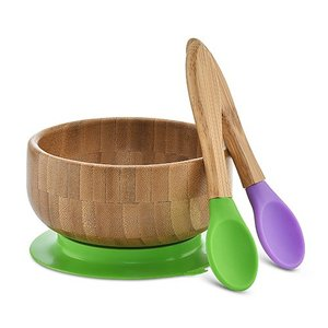 Bamboo kids bowl with silicone suction base and spoon set salad bowl
