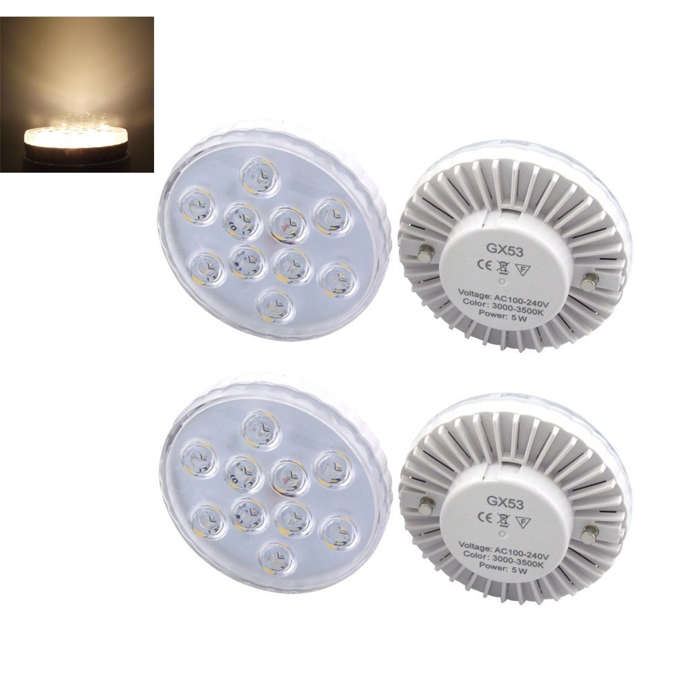 Bonlux LED Gx53 Under Cabinet Lights 5 Watts Warm White LED Gx53 Puck Light for Cabinet, Showcase, Exhibition, Shop Showroom Lighting(Pack of 4)