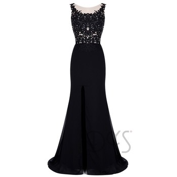 Grace Full-length Appliqued Black Lace Evening Gown for Women