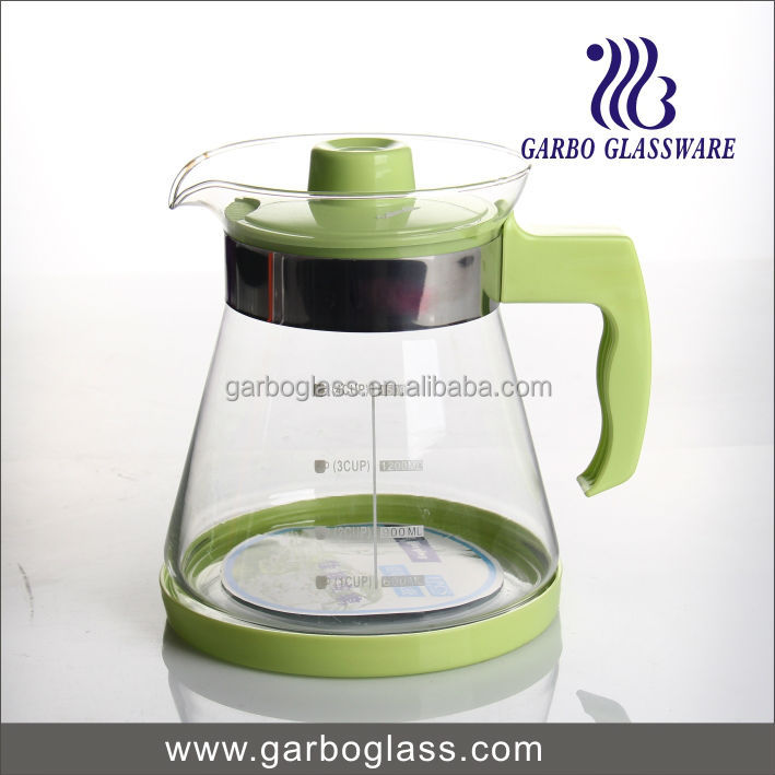 glass water jug with plastic handle and lids /glass coffee jug