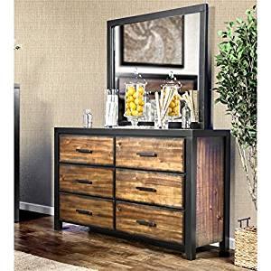 Furniture of America Idina 6 Drawer Dresser With Mirror