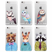 TOMOCOMO 2017 Raccoon Bunny Dog Owl Dots Bow Animals Autumn Soft Clear Case Cover For iPhone 7Plus 7 6 6Plus 8 8Plus X Samsung