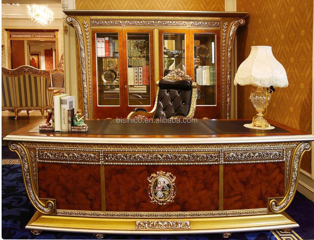 Luxury French Louis Xv Style Golden Wood Carved Office