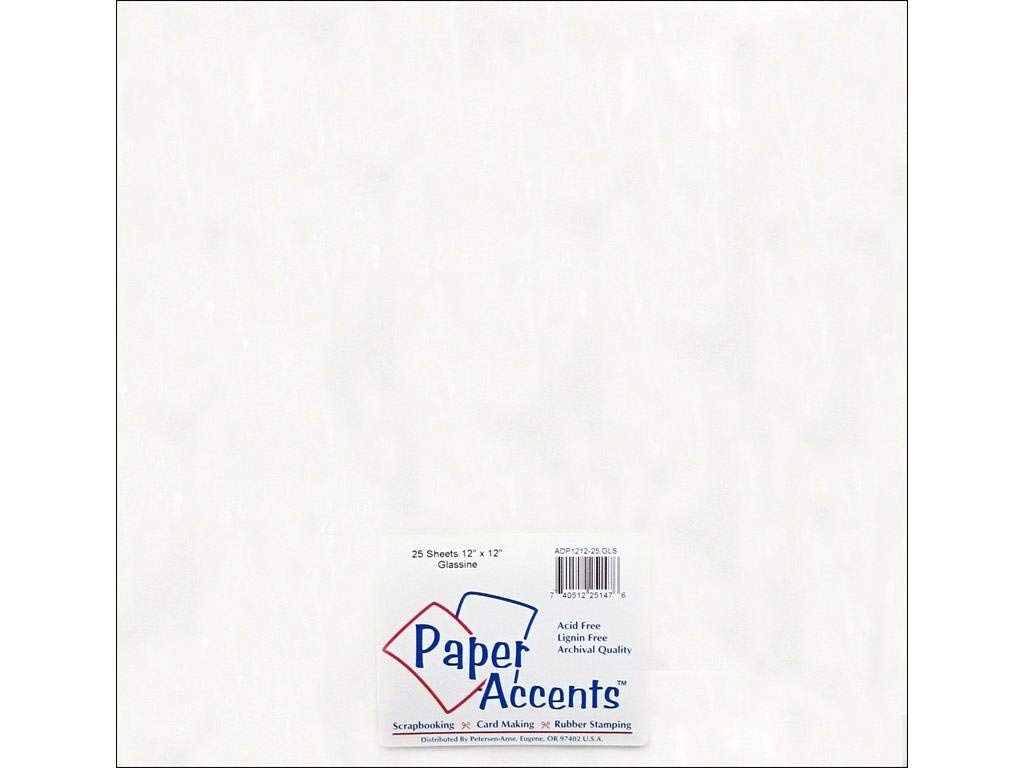 "Accent Design Paper Accents ADP1212-25.GLS No.30 12"" x 12"" White Glassine Card Stock"