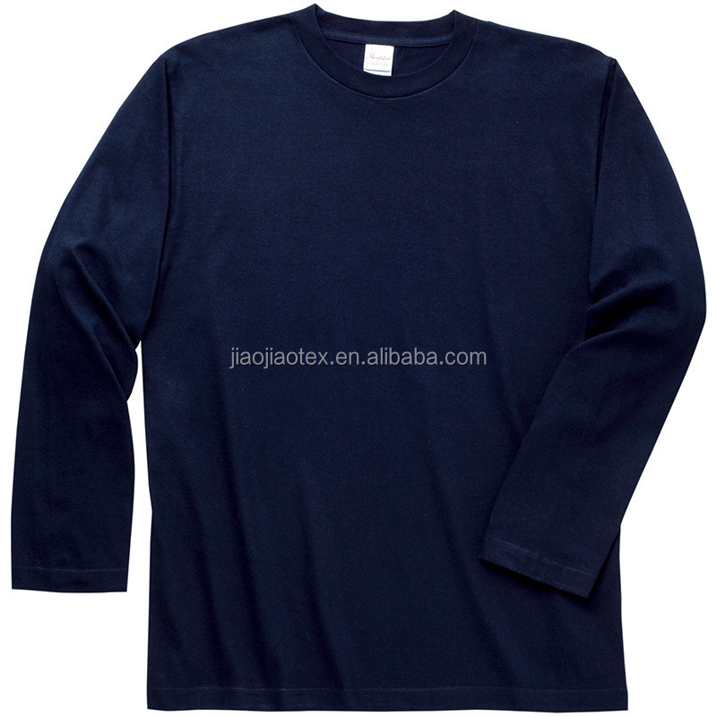 100% cotton 190gsm blank plain custom long sleeve t shirt men