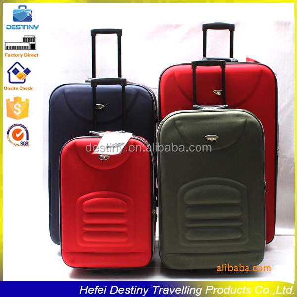 red black long built- in trolley unique extensible travel eva luggage bag