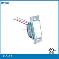 Shanghai UL listed electrical 120V 60HZ 600Watt AC power Single Pole 3-Way Dimmer Switch Ideal CFL/LED or Halogen Lighting