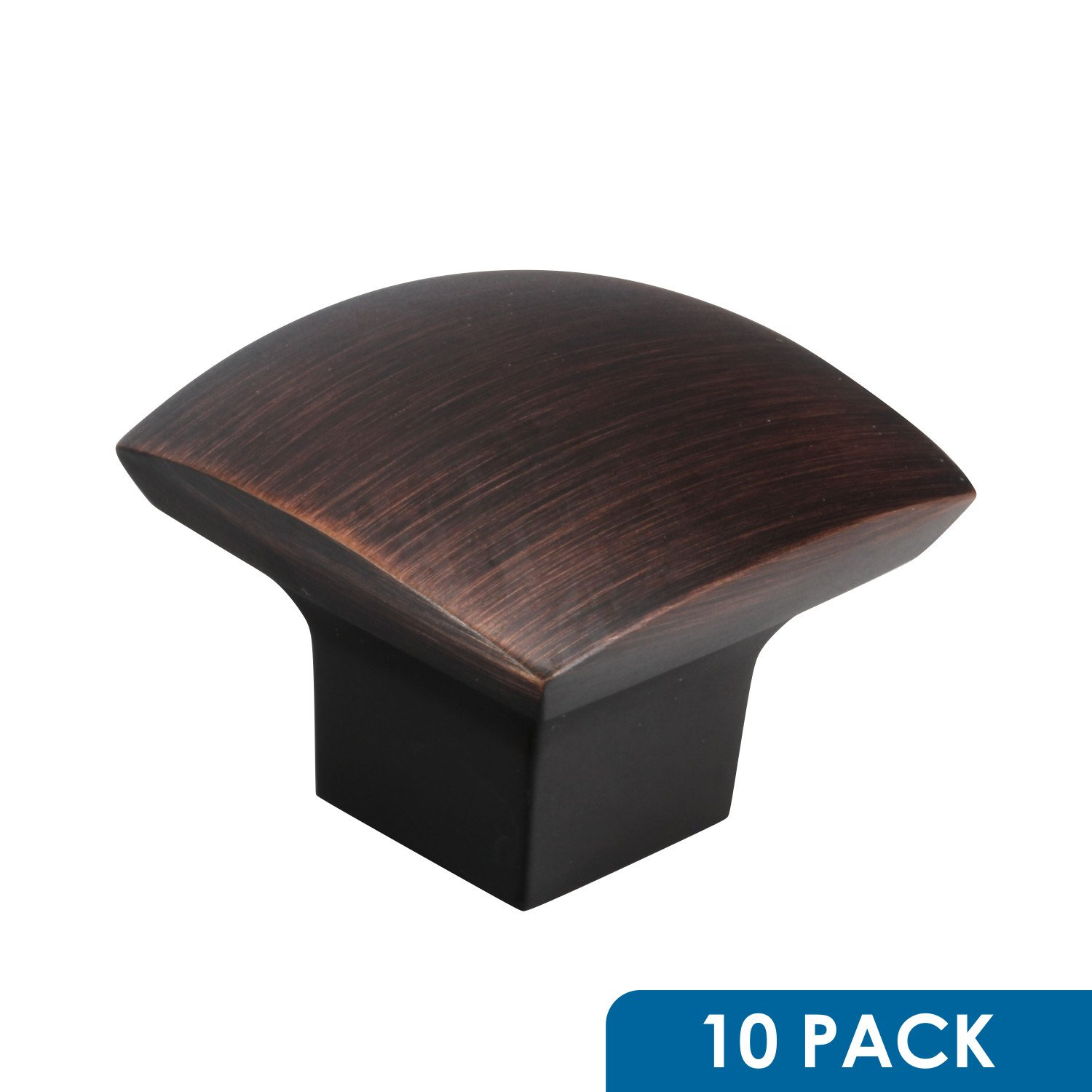"""10 Pack Rok Hardware Zen Dynasty Square Style Brushed Oil-Rubbed Bronze Cabinet Drawer Knob, 1-7/32"""" (31mm)"""