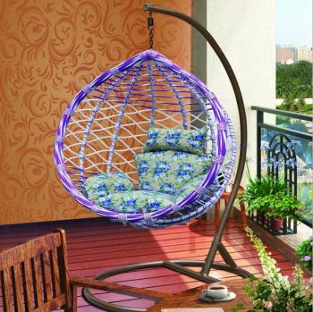 European Style PE Rattan Moon Shape Swing Hanging Chair
