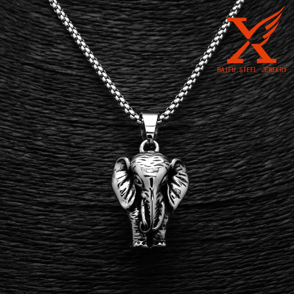 Stainless Steel Silver Tone Exquisite Elephant Pendant Cute Design Fashion Men's Jewelry