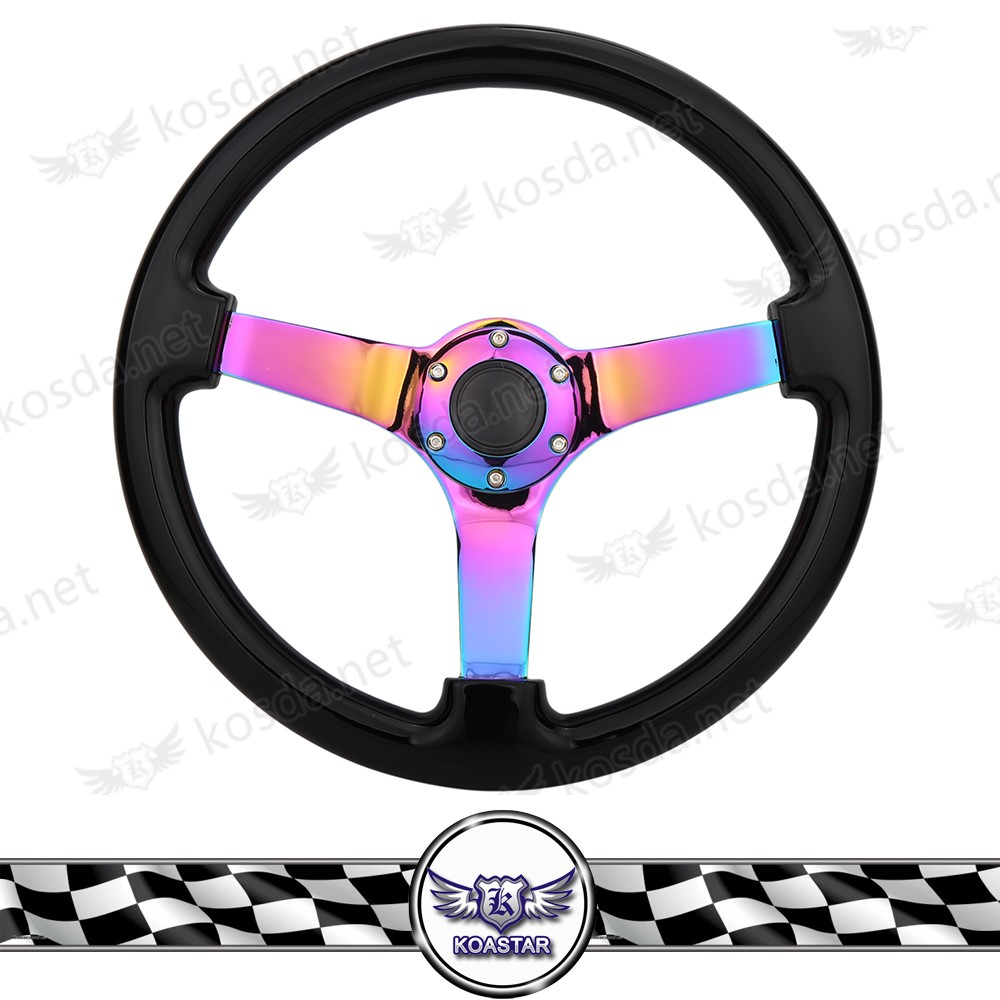 Custom wholesale one piece black wood car steering wheel with control horn buttons