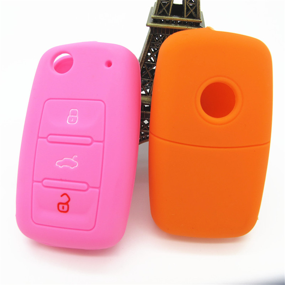 environment friendly washable and good touching feeling silicone car key cover for VW Skoda car keys