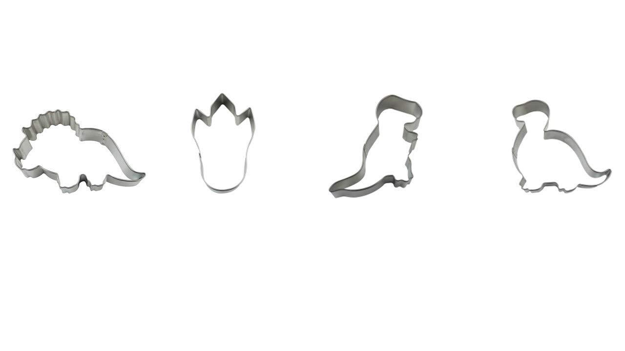 "Baby Dinosuars Cookie Cutter Set - T-Rex 4.75"", Brontosaurus 4.5"", Triceratops 4.25"", Dinosaur Foot 4"" - 4 Piece - Tinplated Steel - National Cake Supply"