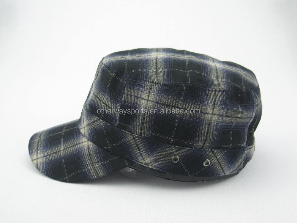winter plaid military hat
