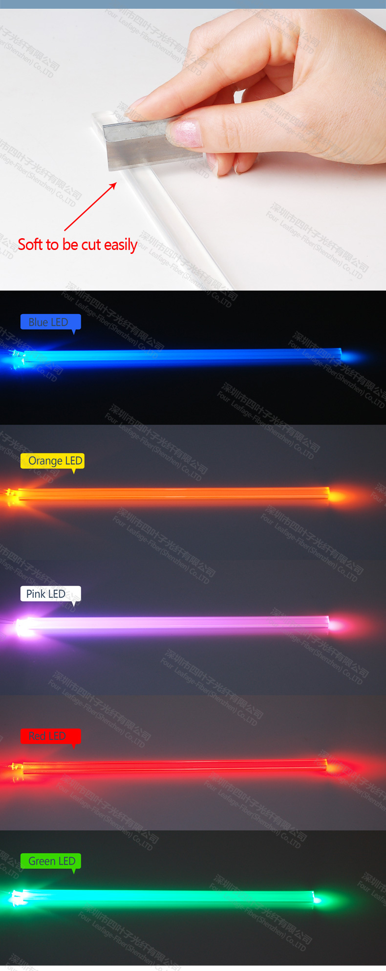 Price Per Meter 5 X 5mm Square Tpu Side Glow Optical Fiber Optic ...