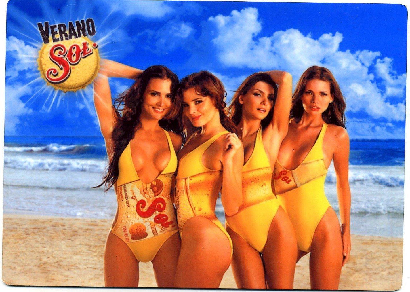 Verano Sol Cerveza - Sexy Beach Girls Beer Sign - Mexico