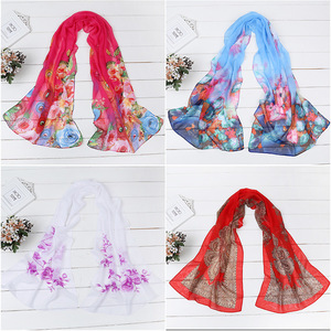 fashionable sexy women outdoor beach shawl scarves printing peacock chiffon scarf