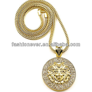 New Iced Out 1 Head Pendant Necklace With 36 Inch Franco Style Necklace