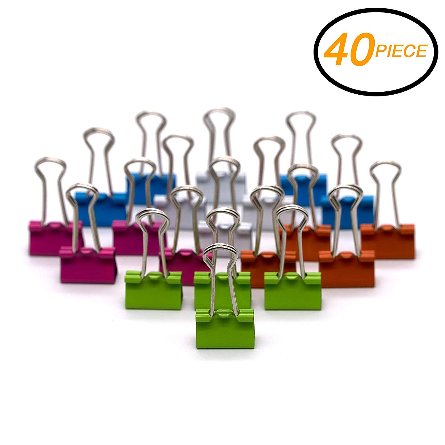 "Emraw Small Versatile Binder Clip Assorted Color 3/4"" (19mm) – for Home, Office School (40-Pack)"