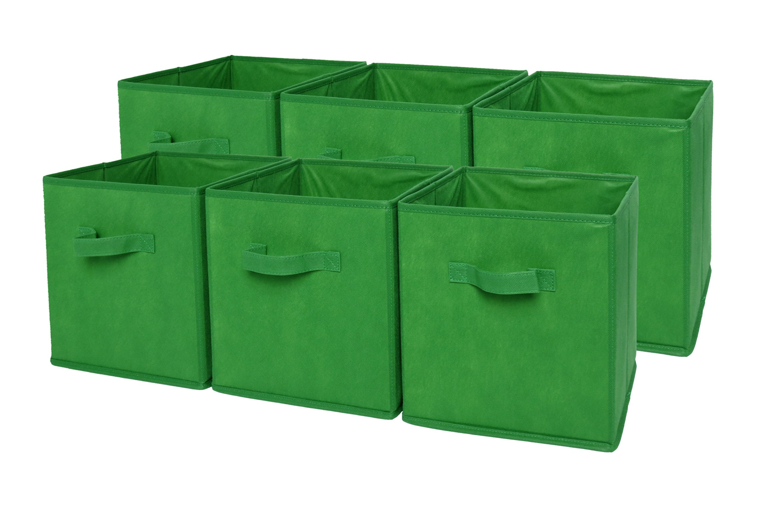 Sodynee® Foldable Cloth Storage Cube Basket Bins Organizer Containers Drawers, 6 Pack, Green