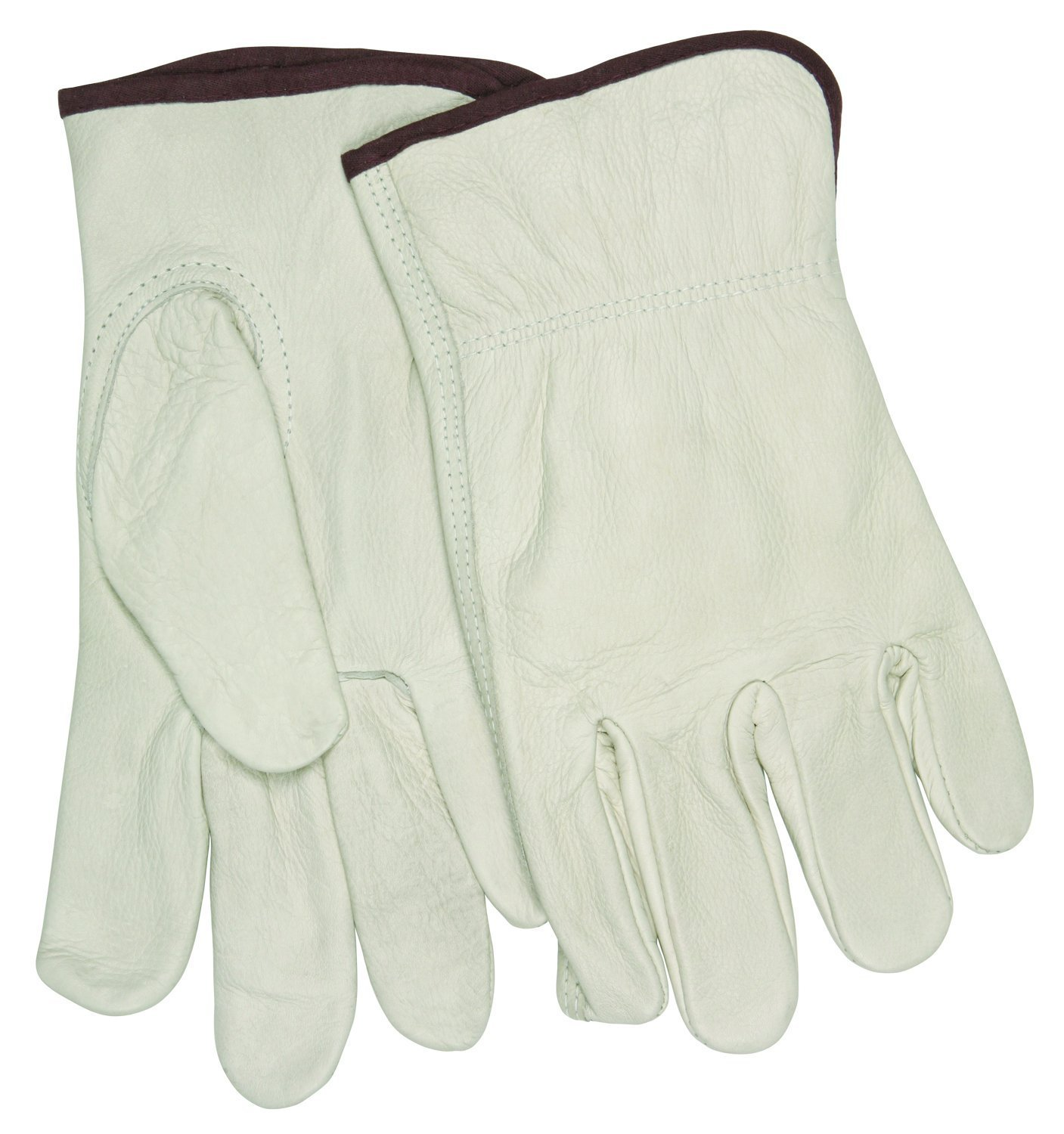 MCR Safety 32113M Industry Grade Unlined Grain Cow Leather Driver Men's Gloves with Keystone Thumb, Cream, Medium, 1-Pair