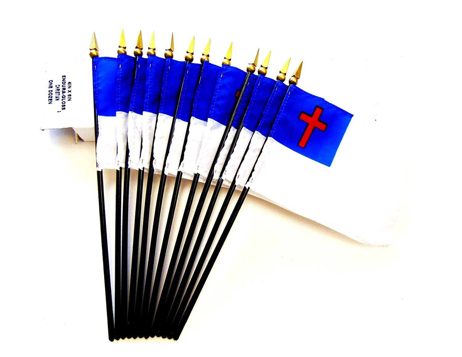 "MADE IN USA!! Box of 12 Christian 4""x6"" Miniature Desk & Table Flags; 12 American Made Small Mini Christian Flags in a Custom Made Cardboard Box Specifically Made for These Flags"