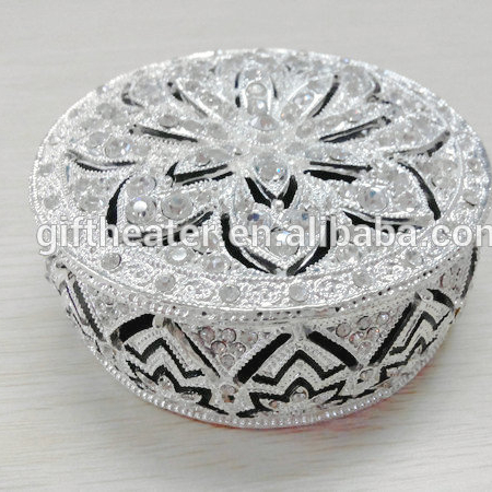 Luxury metal round crystal jewelry ring box wholesale