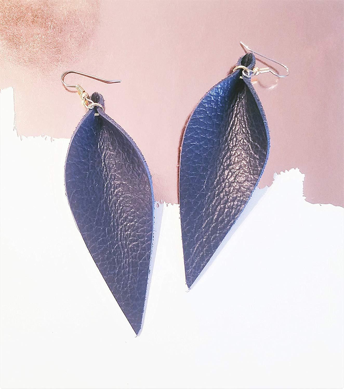 "Navy Blue/Leather Earrings/Joanna Gaines Earrings/Statement Earrings/Leaf/Large (3.5"" x 1.25"")/Hypoallergenic"