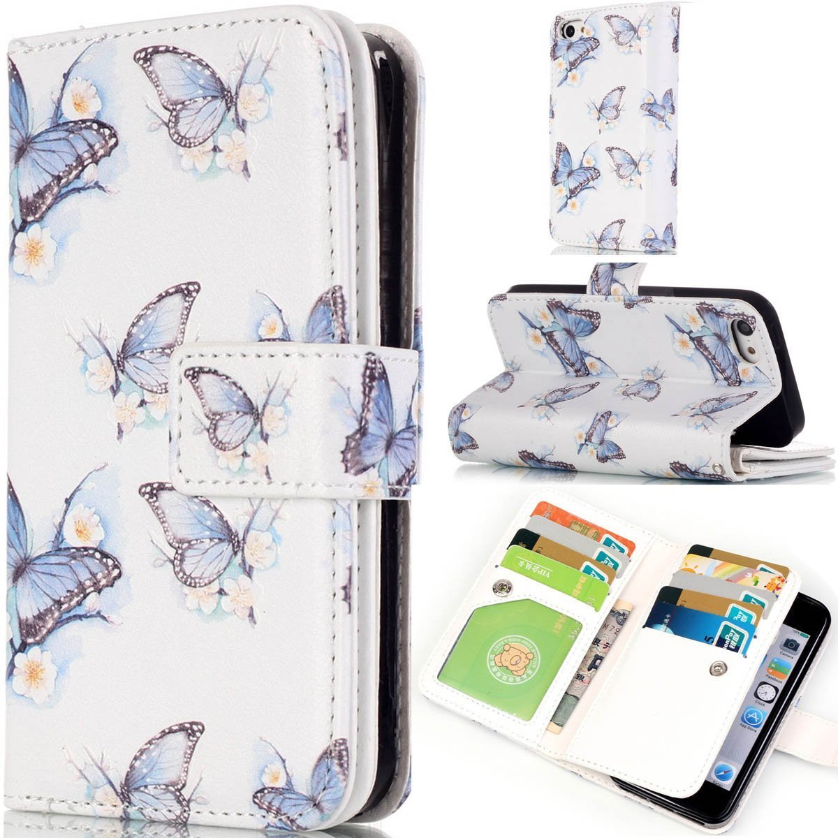 iPhone 5S Case,iPhone SE Case,Gift_Source [Multi Card Wallet] [Photo card slots] Premium Magnetic PU Leather Wallet with Built-in 9 Card Slots Folio Flip Case For iPhone SE/5s/5 [Blue Butterfly]