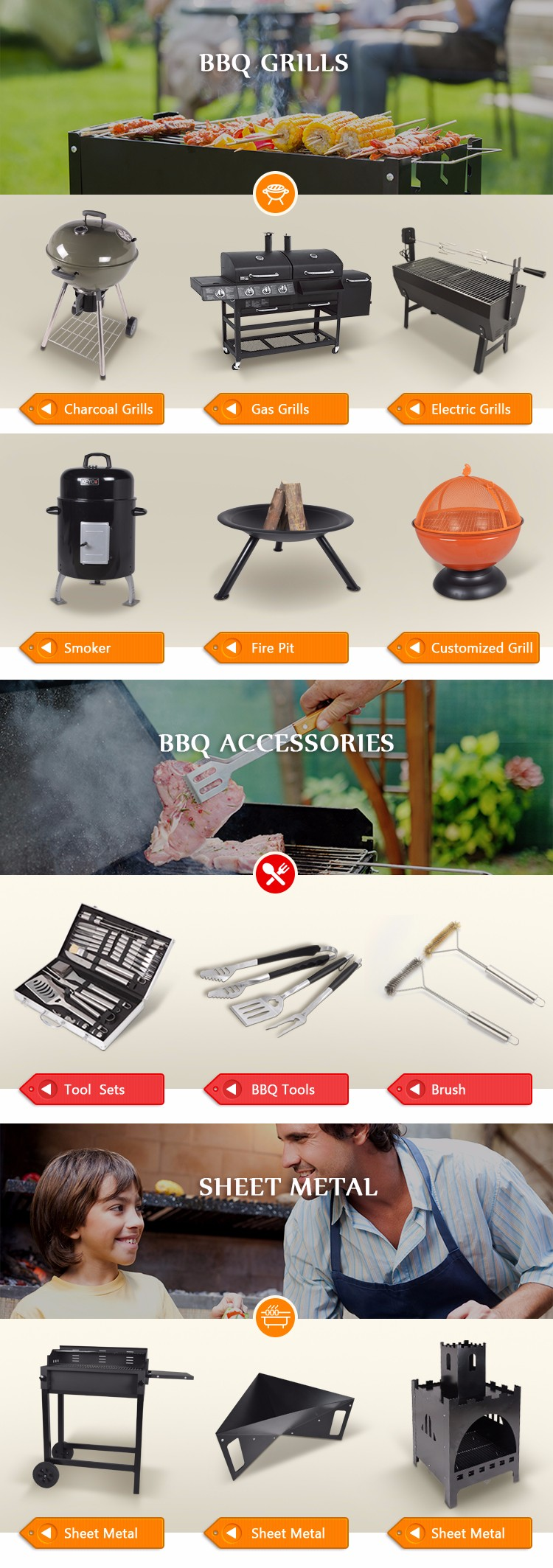 Easily Cleaned Upright Round Barbecue Grills Stand BBQ Charcoal Black Pedestal Round Grill
