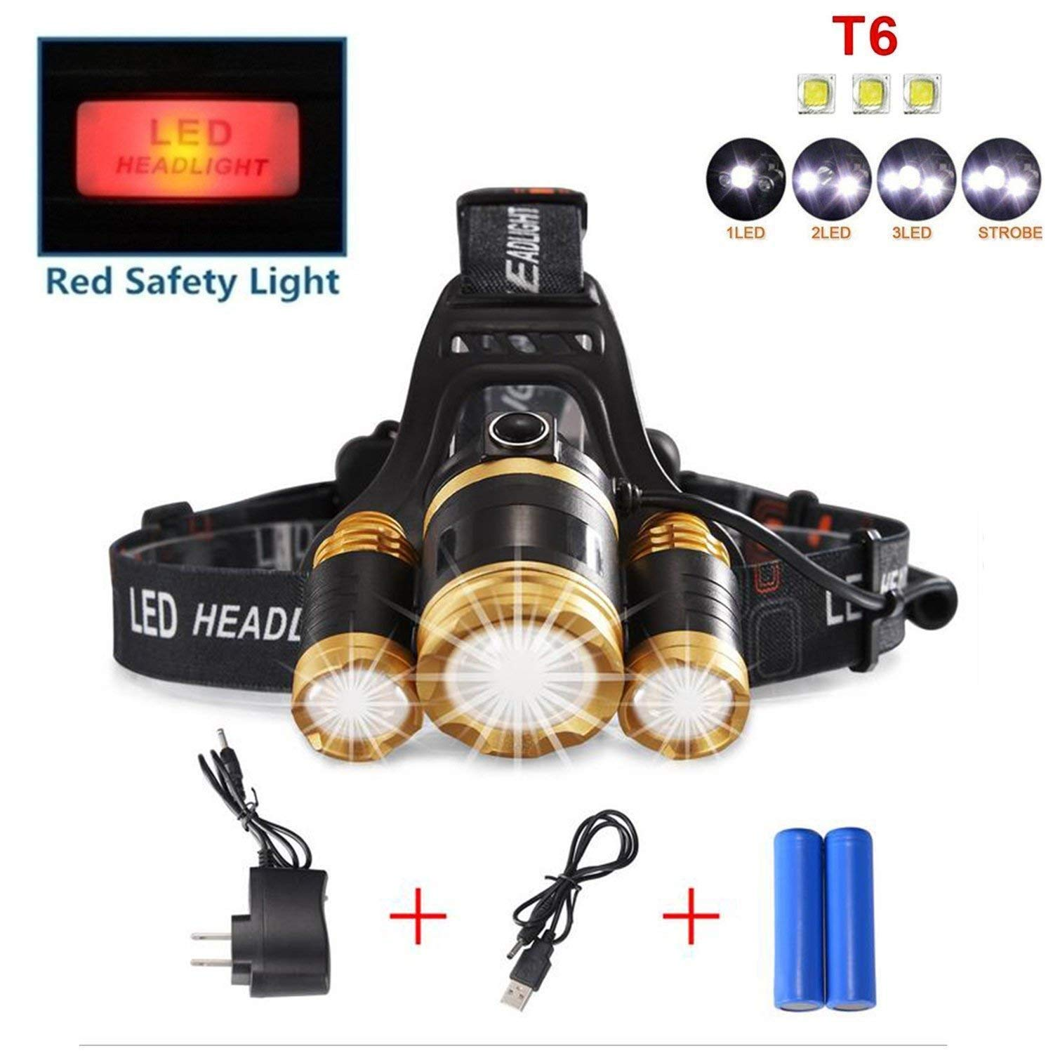Skyee Brightest 3T6 LED Headlamp, Waterproof Stretch Zoom 4 Modes 10000 Lumens Flashlight USB Rechargeable with iPhone/iPad/Android, Wall Charger with 18650 Batteries(Included), for Camping, Hiking