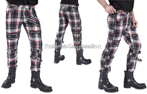 GOTHIC PUNK MENS RED/BLACK COTTON CYBER TROUSERS STEAMPUNK