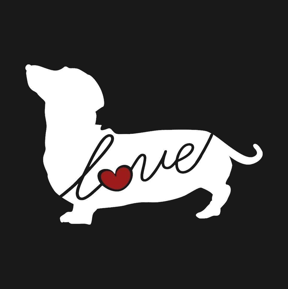 Dachshund (Wiener Dog) Love - Car Window Vinyl Decal Sticker (Script Font)