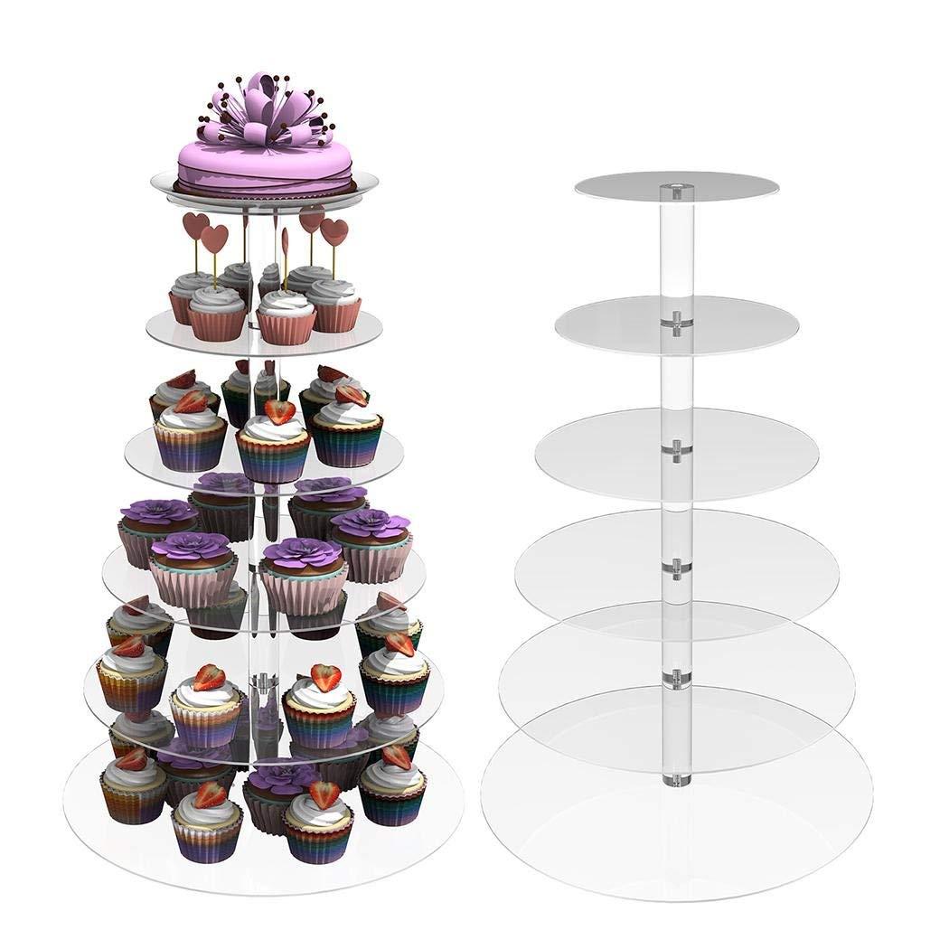 Oguine 6 Tier Crystal Acrylic Round Cupcake Stand, Dessert Cake Tree Tower Maypole Display Stand for Christmas/Wedding/Birthday Craft