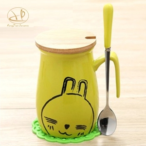 Ceramic Cute Coffee cartoon Mugs with Spoons Perfect Gifts for Friends