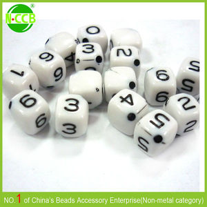 square plastic number beads