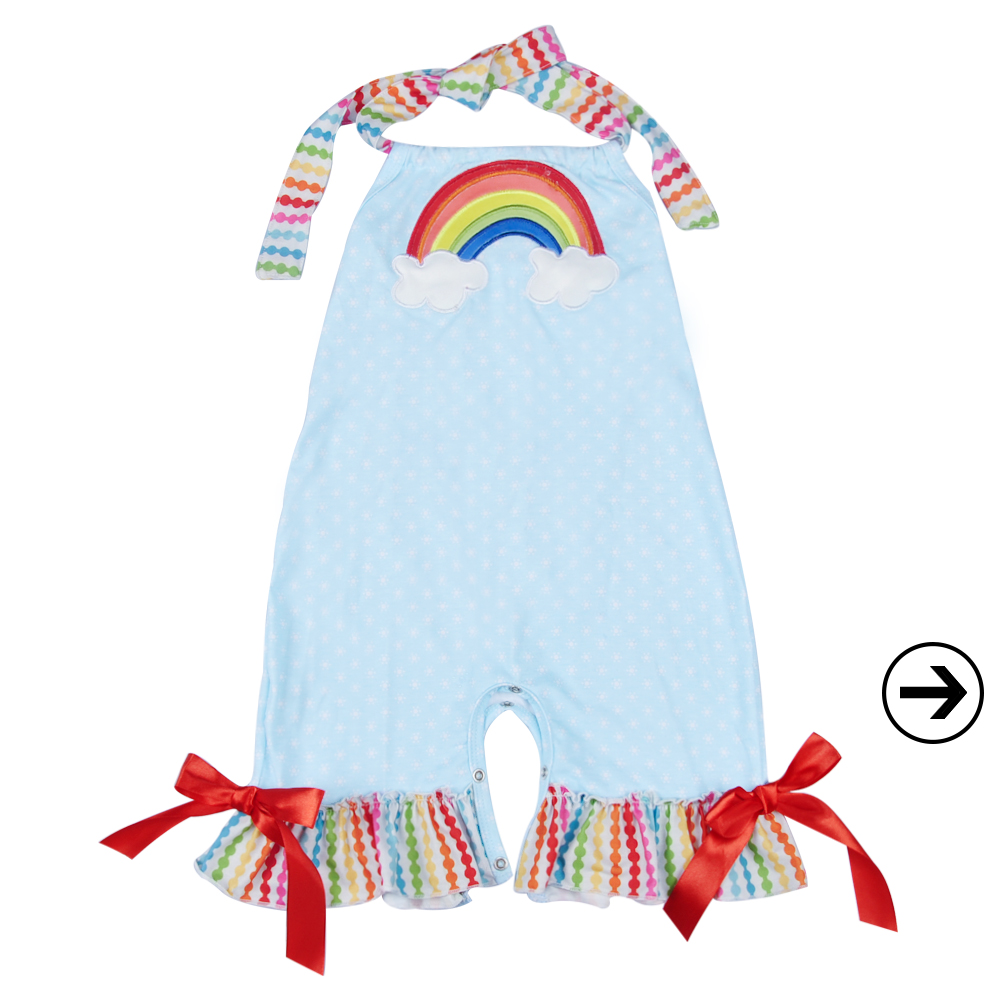 Hot selling baby girl summer rainbow clothes wholesale infant girls ruffle lace bubble floral rompers