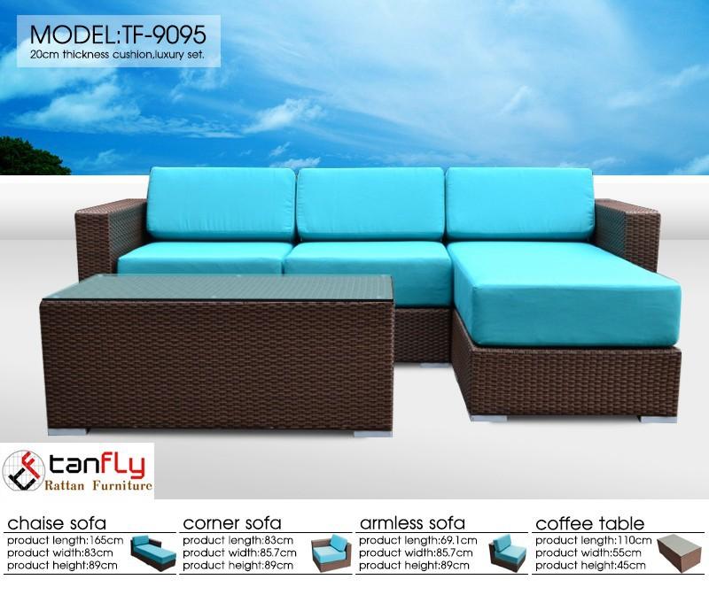 fuori di sole rattan divano cuscino blu copertina-divani di ... - Angolo Divani In Copertina Nera