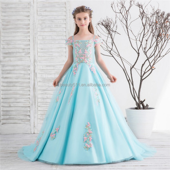 6eb717ea026 2018 Top Quality blue long swing skirt flower girls kids party wear  princess puffy dresses flower