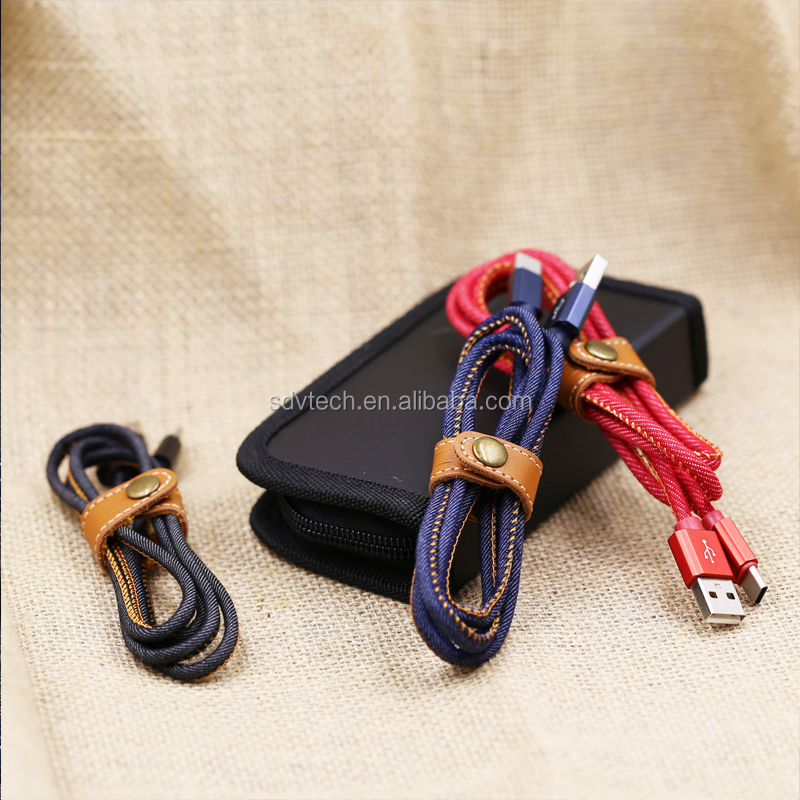 Wholesale Nylon braided jeans fabric leather usb data line phone charging micro usb data cable hot
