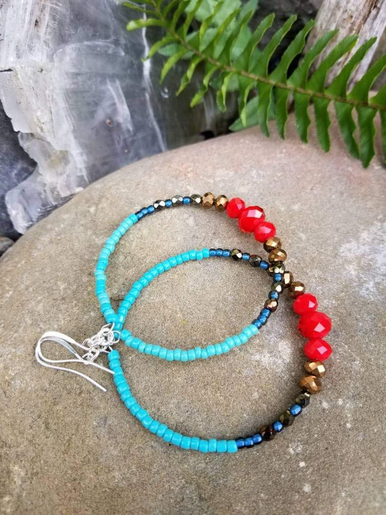 Bohemian Beaded Hoop Earrings, Boho Hoops, Large Turquoise Hoop Earrings, handmade, Southwest, Red, Bronze