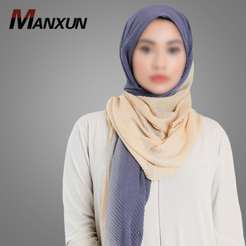 High Quality Muslim Hijab Soft Crinkle Scarf Two Tone Turkish Style Hijab