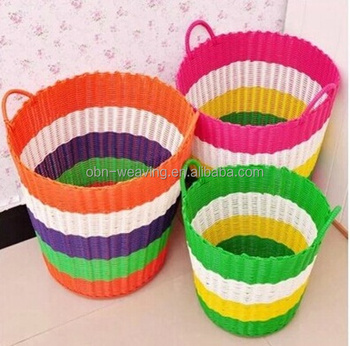 Dirty Laundry Basket Handwoven Cheap Colored Plastic Laundry ...