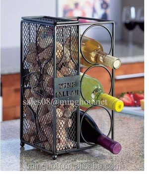 Metal Tabletop 3 Bottle Wine Bottle Rack With Wine Cork Holders