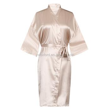 381e965e8d Wholesale 2018 Women plain champagne Solid Color Short Satin Kimono  Bridesmaids Robe